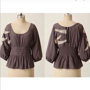 Anthro Floreat Gray Floral Embroidered Blouse 10